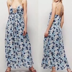 Free People Floral Mulberry Strappy Maxi Dress